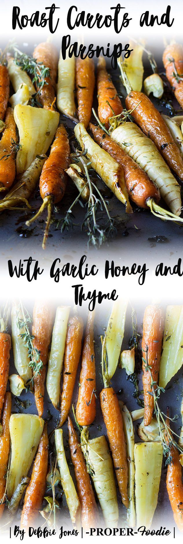 Honey Roast carrots and parsnip root vegetables with garlic and thyme