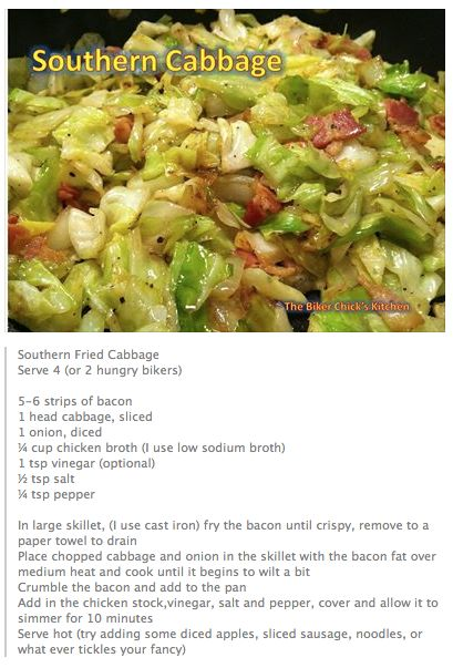 Southern Fried Cabbage-leave out broth. Add 1T ACV instead & 2 T Worcestershire 1T garlic 2 T brown sugar & the bacon.