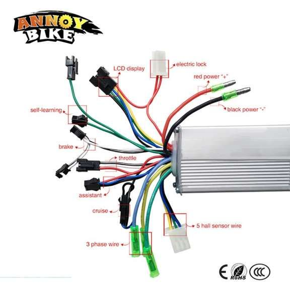 Electric Bicycle Controller Wiring Diagram And W V V Dc Mofset Brushless Controller Bldc Controller E Bik In 2020 Electric Bicycle Electric Bike Diy Electric Scooter