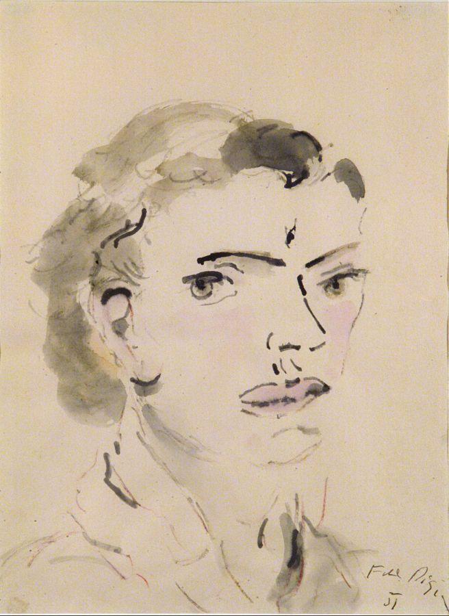Testa di giovane, 1951 Acquerello su carta, 33 x 24,2 cm - Donazione Alberto Rossi, Torino, 1956