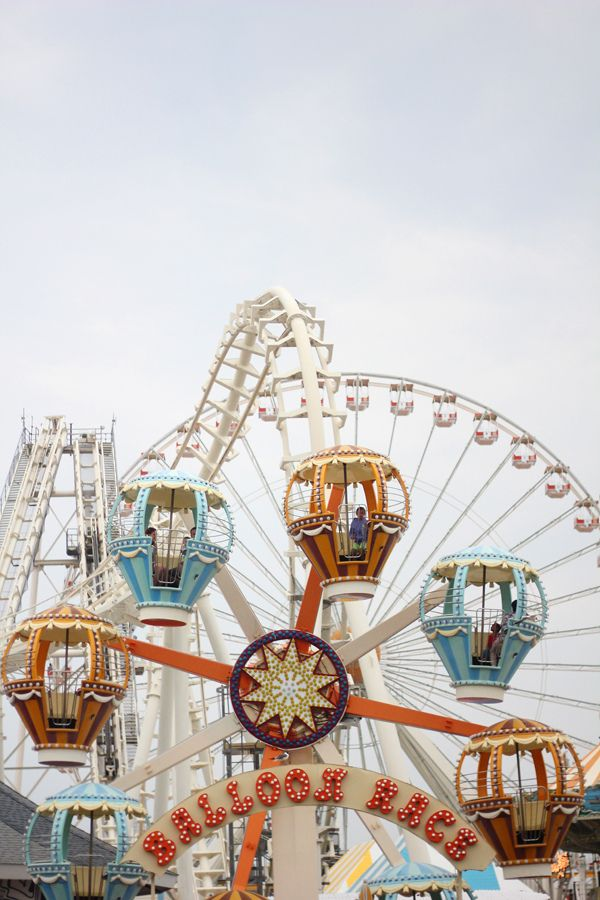 Back to Front: The Big Wheel, The Sea Serpent, and the Balloon Race, on Morey's Pier, Wildwood, New Jersey