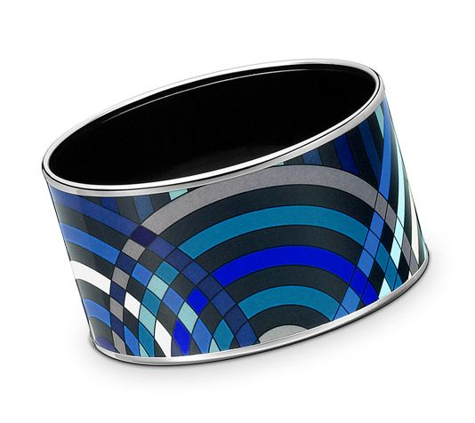 Spirographie Hermes extra wide printed enamel bracelet