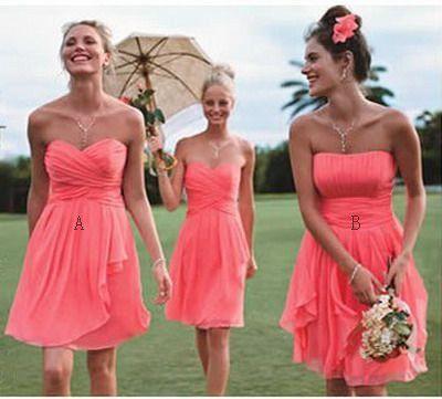 Pas cher a-ligne corail genou longueur mousseline robes de mariée, robes de fête de mariage robe, courte corail Prom Dresses, demoiselle d'honneur courte