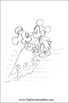 Disney Minnie Mickey Wedding Coloring Page Detailed