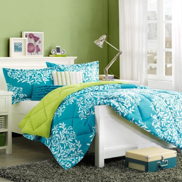 Turquoise blue green girls twin single comforter set 4 piece bed in a bag chambre de fille - Blue and green bedding sets ...