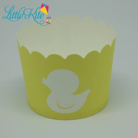 Rubber duckie cupcake baking cup case by Little Kite.  Perfect for a baby shower.  Other baby shower items are pink or blue rocking horses.