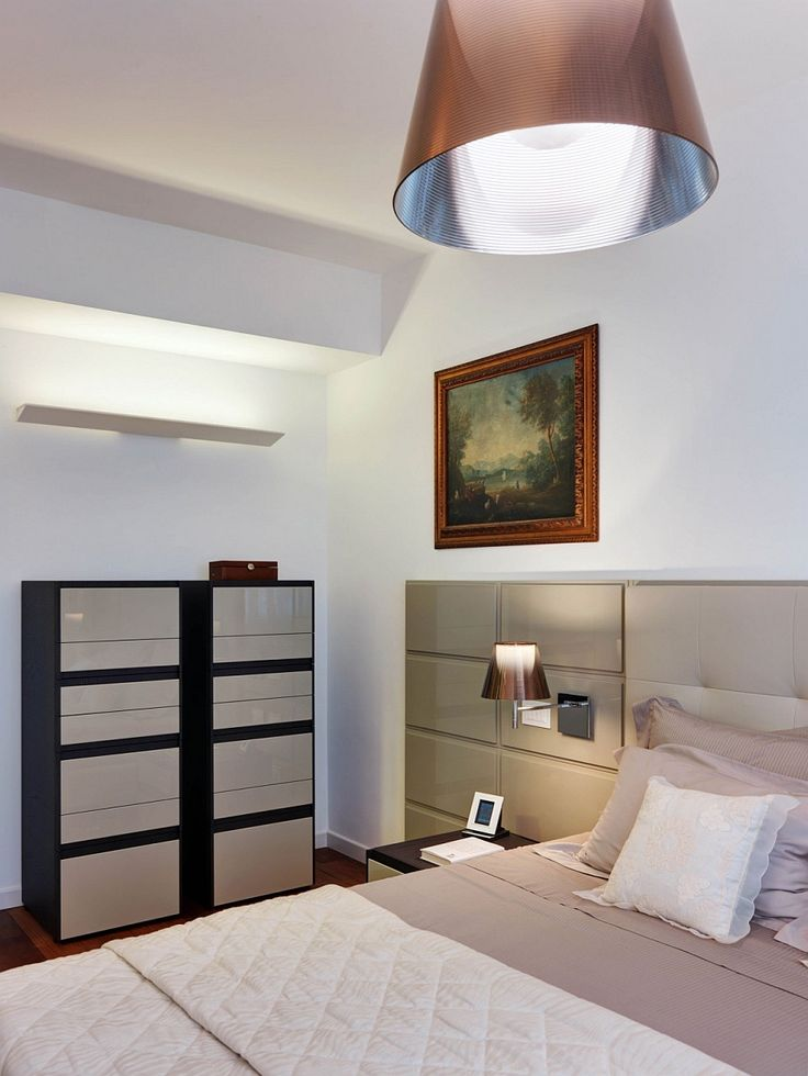 Apartments:Italian Bedroom Design Decorating With Elegant Pendant Light Also Headboard Beds Also Cushions Also Vanity And Table Lamp With Landscape Painting Also Laminate Floor And White Wall Modern Interior Design of Luxury Apartment in Milan To Inspire You