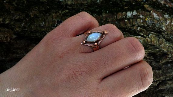 Moonstone ring Rainbow ring Moonlight ring by JewellerybyWedleen