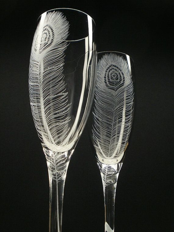 Peacock Feathers . 2 Champagne Flutes . Hand Engraved Wedding Gift on Etsy, $62.85