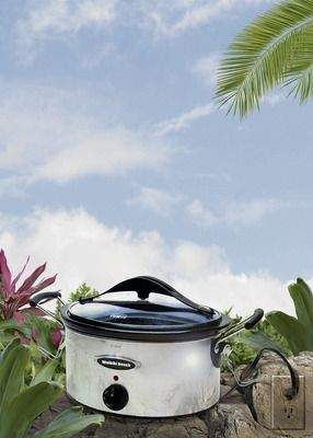 Hawaiian food crock pot recipes- don't know if I can find luau or ti leaves here...but it can be my summer scavenger hunt:)
