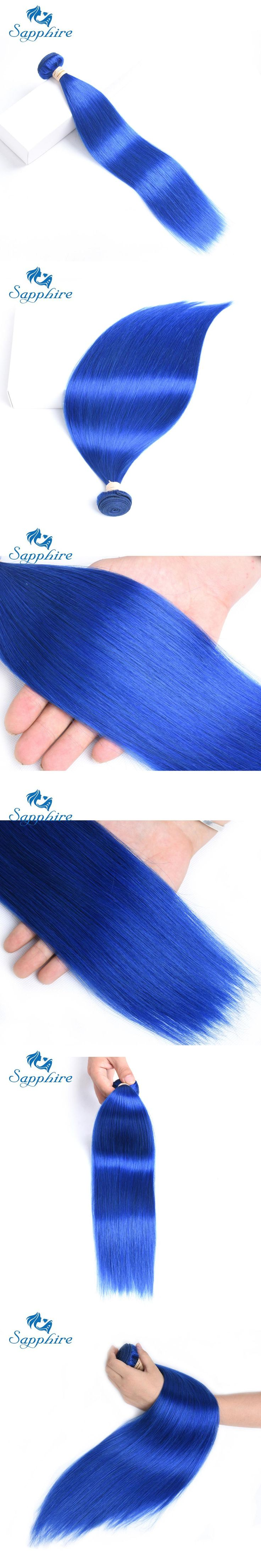 Sapphire Peruvian Straight Non-Remy Hair Weave 3 Bundles Blue Color Mixed Length Human Hair Bundles For Salon Hair 10-24Inch