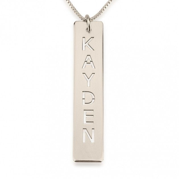 140 best sterling silver name necklace images on pinterest names sterling silver cut out vertical bar necklace mozeypictures Images
