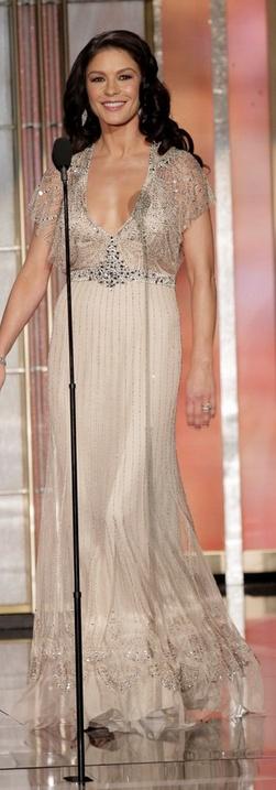 Catherine Zeta Jones: Dress – Jenny Packham    Shoes – Pelle Moda    Jewelry – Van Cleef and Arpels