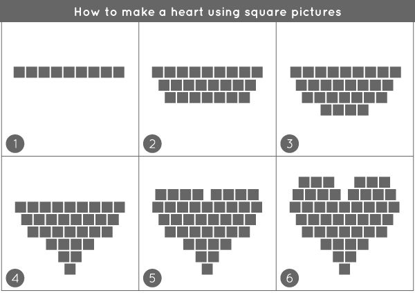 I wonder if i print each step in large if it would help them understand (writing numbers on each row) just keep it simple: DIY: A Heart of Pictures