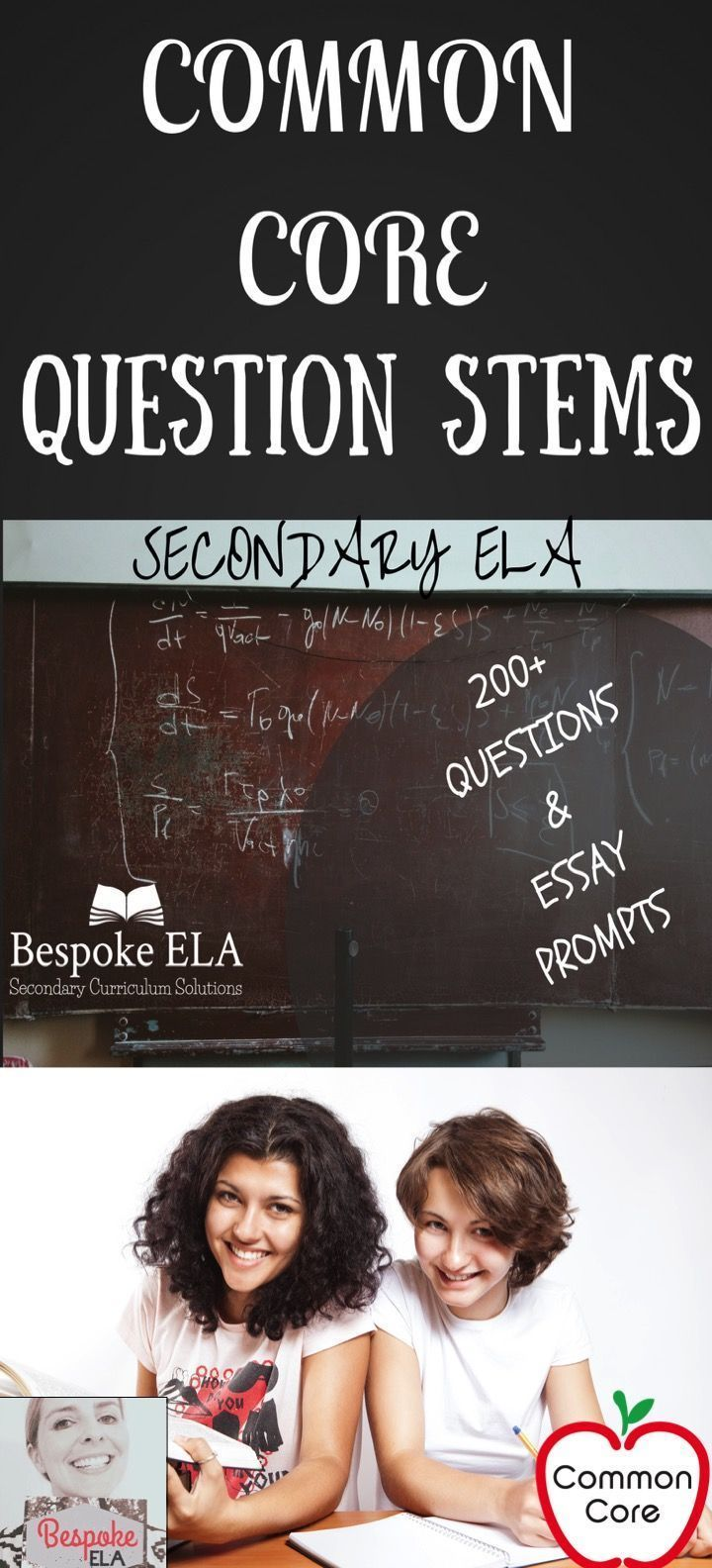 COMMON CORE Question Stems for Secondary ELA.  Includes 200+ question stems to guide assessment, discussion, and analysis in secondary english language arts.  This item also includes essay prompts that target the Common Core Standards.  By Bespoke ELA