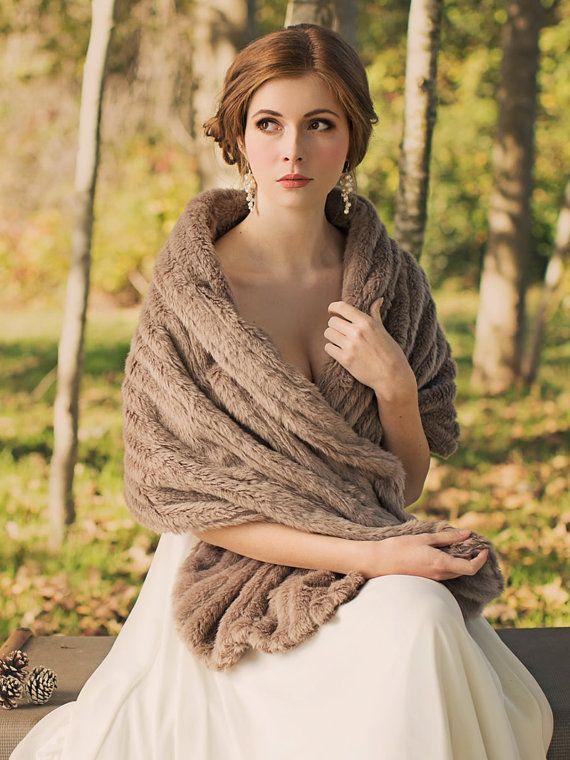 ...I LOVE her makeup!... Bridal Fur Stole  Wedding shawl  Faux Fur Wrap  by DavieandChiyo