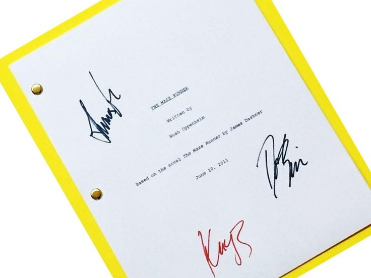 Maze runner movie screenplay script autographed dylan