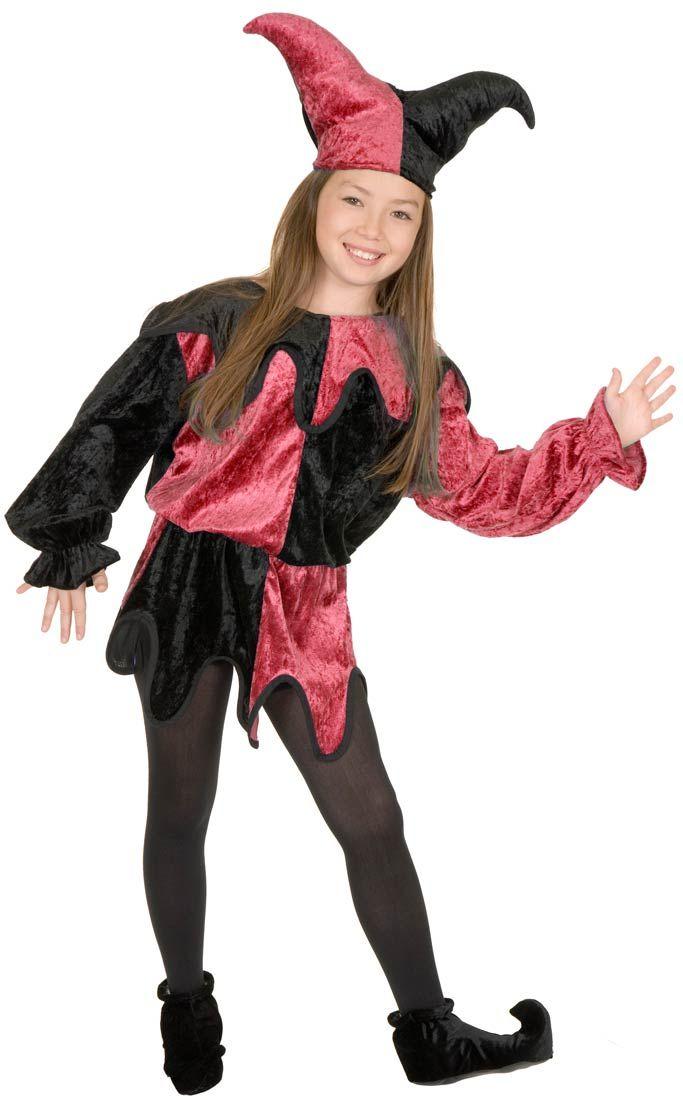Black and Wine Jester Kids Costume - Halloween Costumes