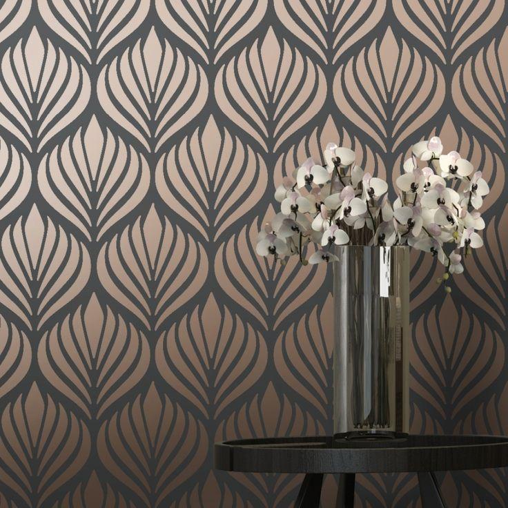 Shimmer Desire Wallpaper Charcoal, Copper (50040)