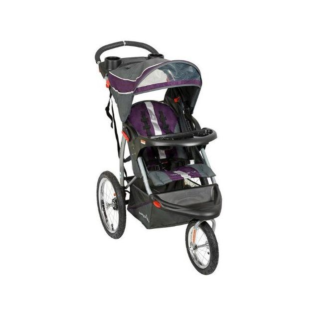 This Baby Trend jogger features a front swivel wheel for enhanced steering and rear foot-activated parking brake. Large bicycle wheels make it easy to pick up the pace while cup holders and a storage basket make this stroller convenient for the parent.
