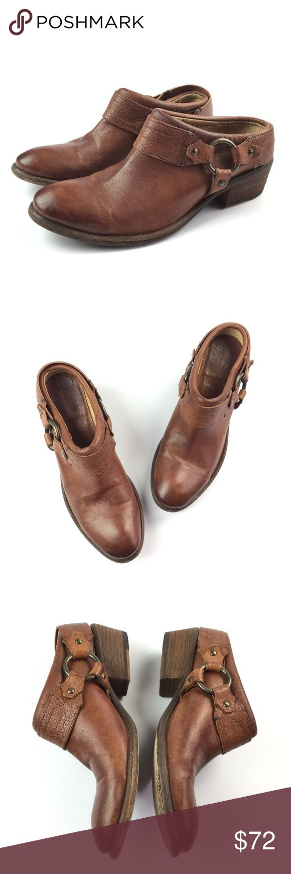"""Frye Brown Carson Clog Harness Booties Frye Carson clog bootie shoes in brown leather. Condition: Good. Broken in. Size 8 B Apx: 1 3/4"""" heel. Frye Shoes Ankle Boots & Booties"""