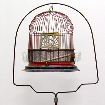 vintage hendryx bird cages | 1920s Red Deco Oriental Style Hendryx Bird Cage eclectic pet care