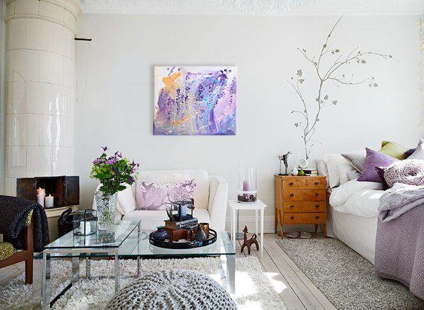 Купить Лавандовый сад - цветение, нежность, картина на холсте, необычная картина, теплые оттенки
