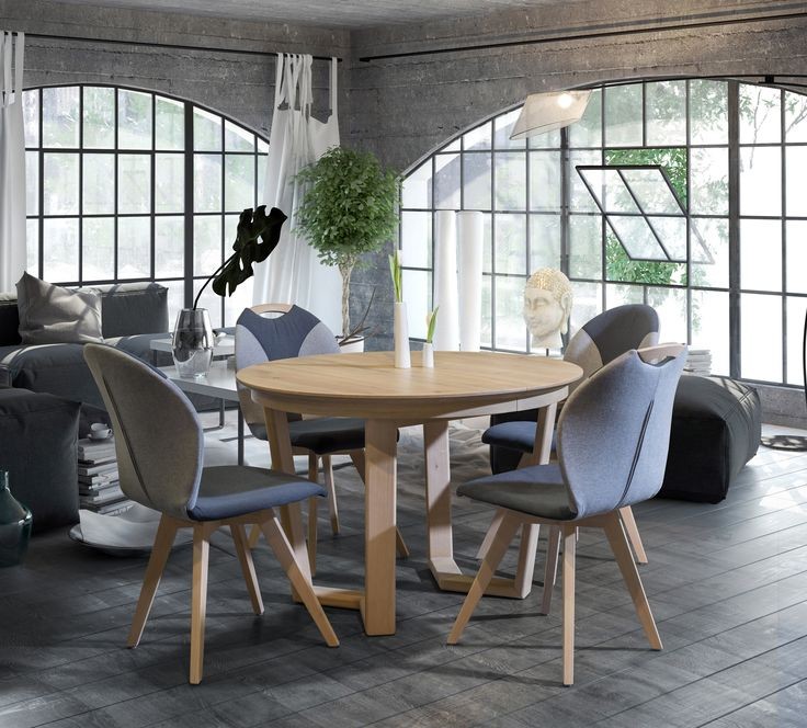 The T53 table and S61 chairs, comfy furniture for dining room. Interior idea from Klose #KloseFurniture #woodenTable #moderloft #moderninterior