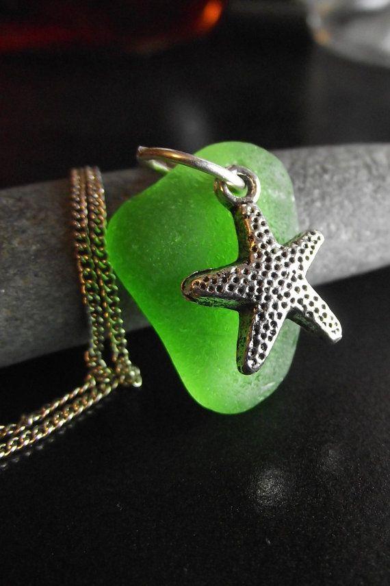 Patrick - Genuine Sea Glass Jewelry -  Starfish Necklace. $20.00, via Etsy.