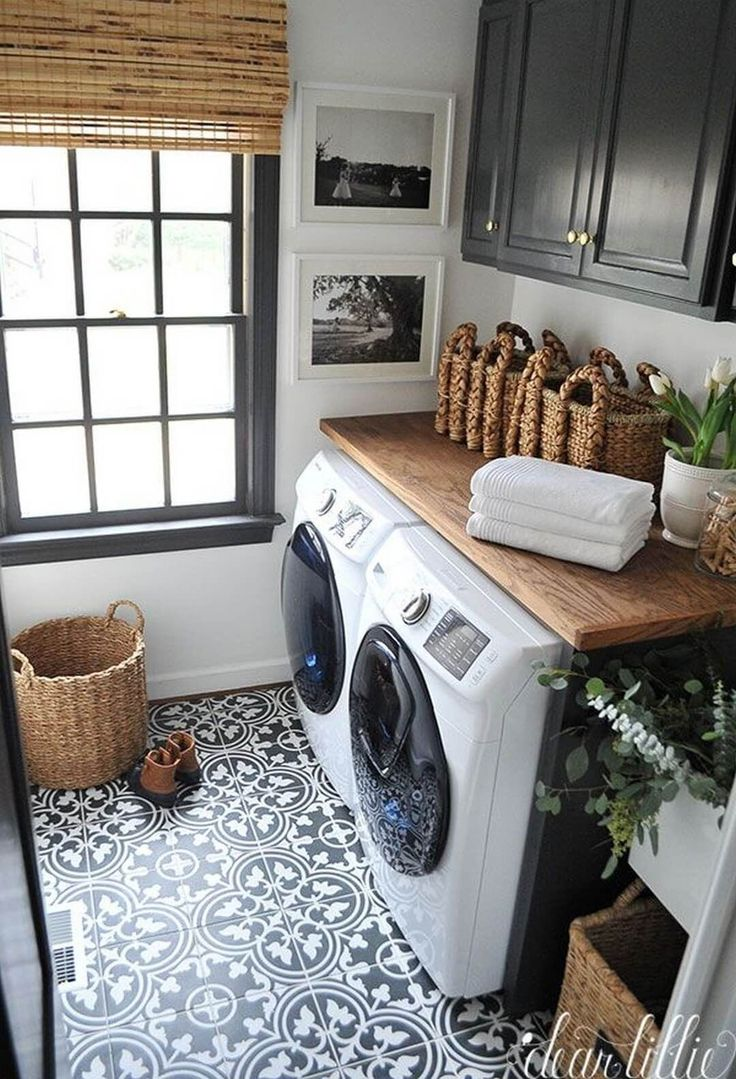 Pretty French Provincial Laundry Room – black and white prints in white frames with white mats, so clean – Simply Stunning Creations