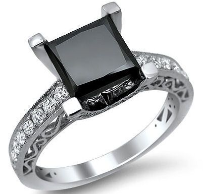 2.85ct Princess Cut Black Diamond Engagement Ring 18k White Gold / Front Jewelers