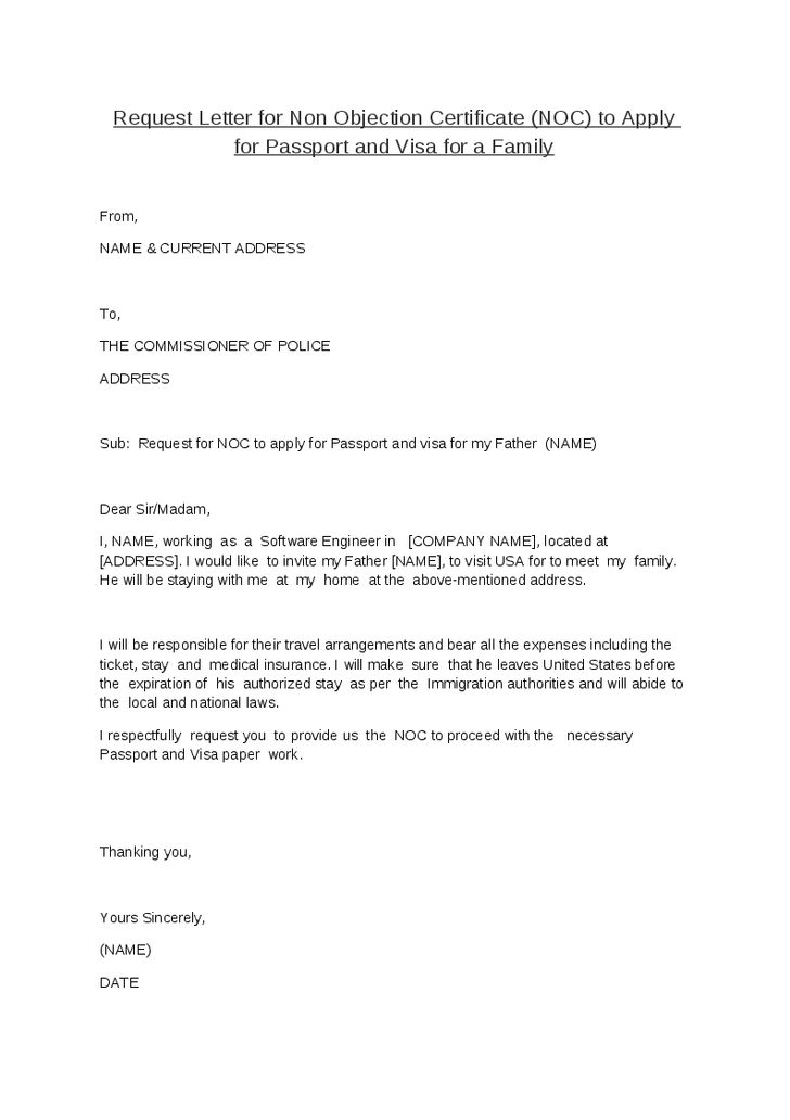 request letter for non objection certificate noc apply sample authorization examples word pdf