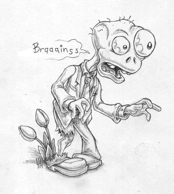 Zombie Plants Vs Zombies Coloring Page