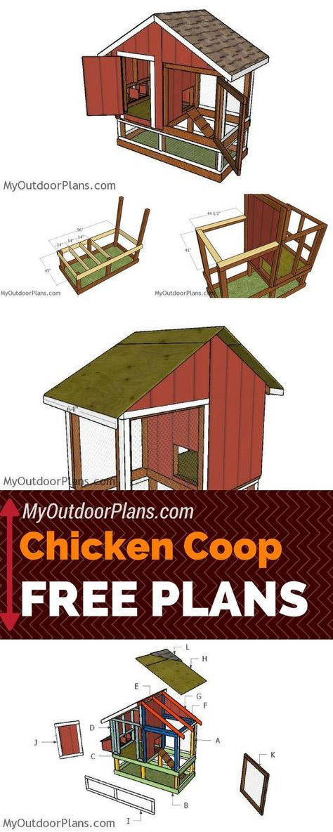 Check out my 4x8 chicken coop plans free! Learn how to build a small and simple chicken coop using common materials and tools! http://myoutdoorplans.com #diy #chickencoop