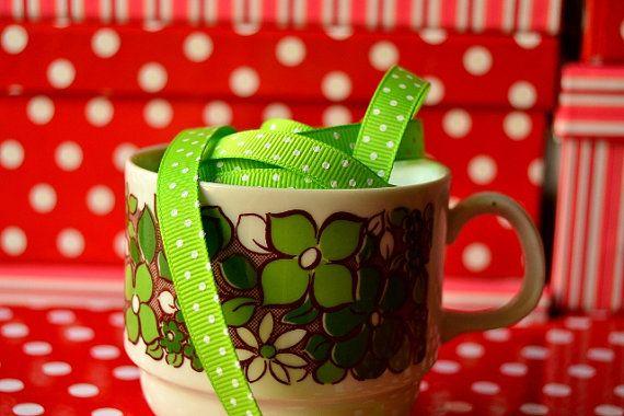 Lime green Polka dots ribbon 5 Meters - Grosgrain Ribbon 10mm - Printed Ribbon - Gift Wrapping Ribbon - Spotty Ribbon