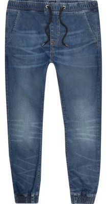 River Island MensMid blue wash Ryan joggers