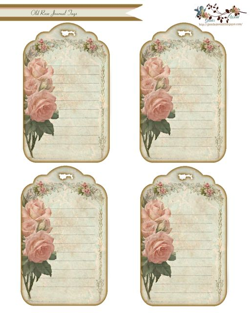 Free Old Rose Journal Tags