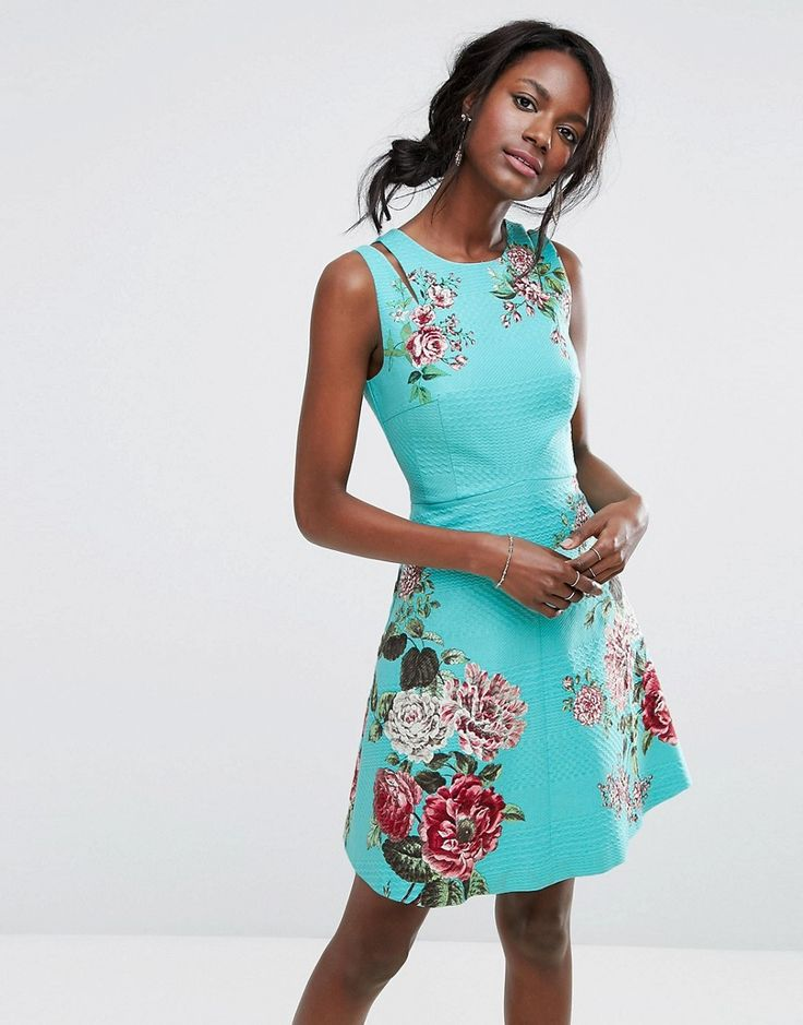 Oasis Royal Worcester Floral Print Skater Dress - Multi