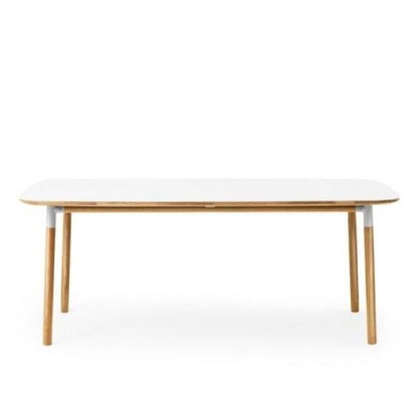 Normann   Form Esstisch   Weiß/eiche/Tischplatte Linoleum/LxB: