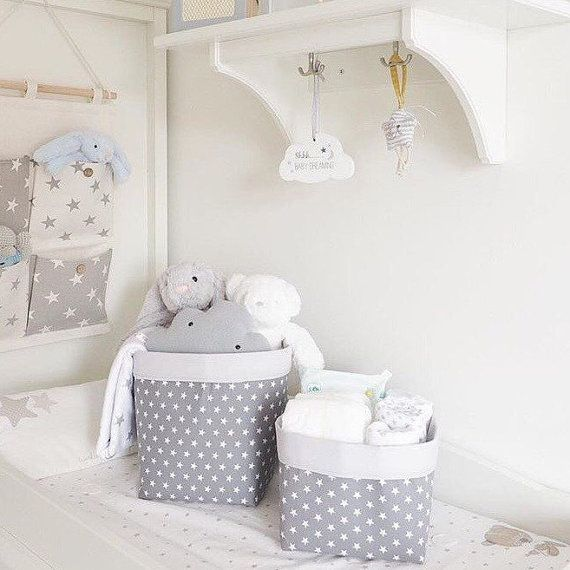Mini Stars Fabric Storage Baskets Pair by TwinkleTwinkleBabies