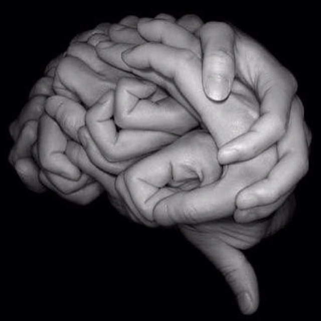 Brain MRI, awesome artwork! Look closely! ...Haha thats a handy looking Brain!