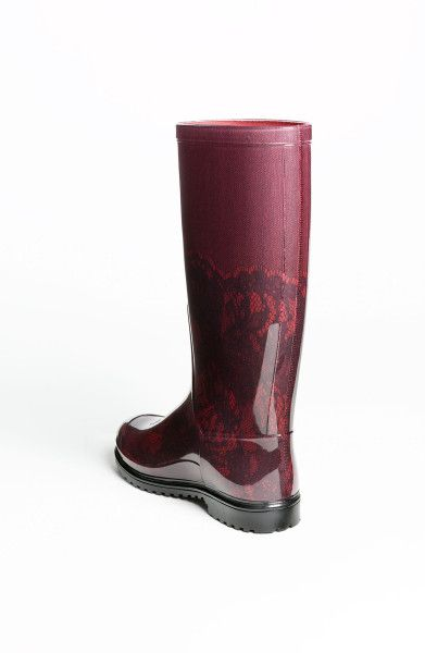 valentino rain boots | Valentino Lace Print Rain Boot in Red (red/ black) | Lyst