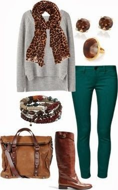 Comfy grey sweater, teal skinny jeans brown boots. ...