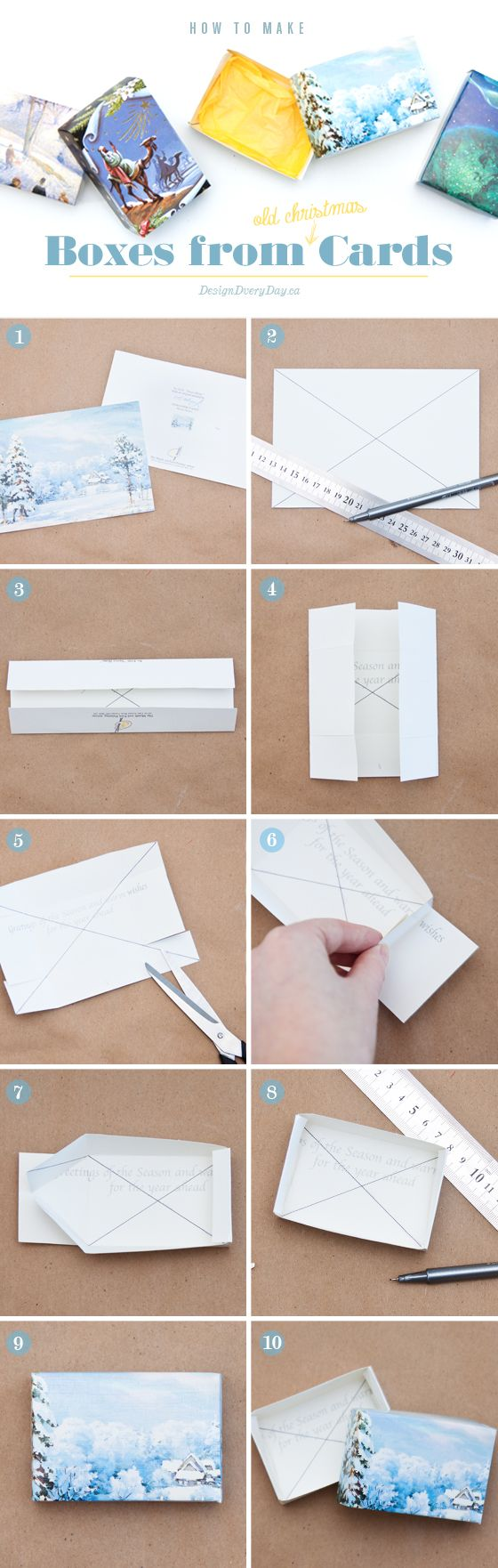 DIT: how to make boxes from old christmas cards - perfect for homemade gift giving