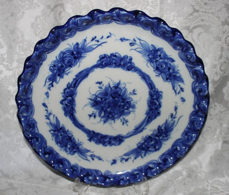 BLUE AND WHITE VESTAL MADE IN PORTUGAL ALCOBACA HAND PAINTED CHARGER No.391-RARE