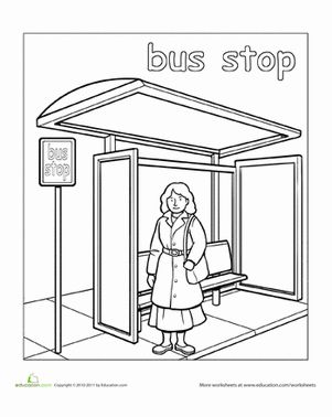 paint the town bus stop occupations and community places bus stop color worksheets for. Black Bedroom Furniture Sets. Home Design Ideas