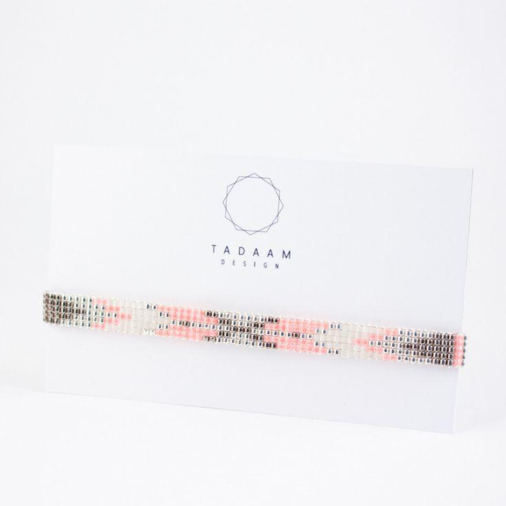 Bracelet tissé - perles miyuki en argent925 et verre ( couleurs )