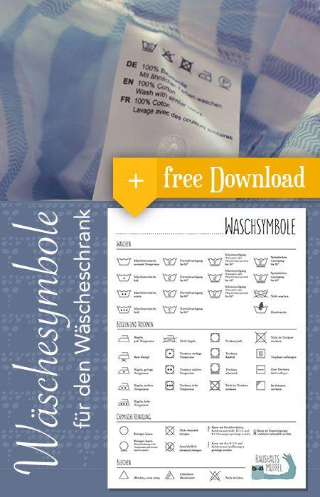 Free Printable Wäschesymbole für die Waschküche oder den Wäscheschrank. #Laundry Room #Wäasche #Organisation #Haushalt