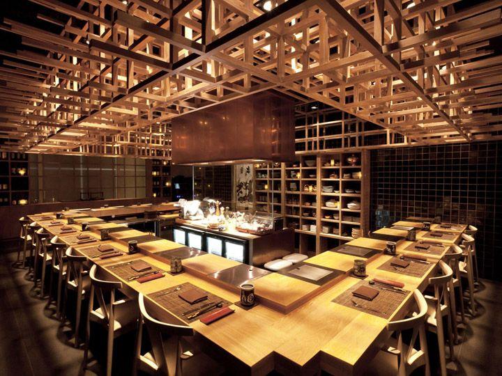 Grid-like wood ceiling