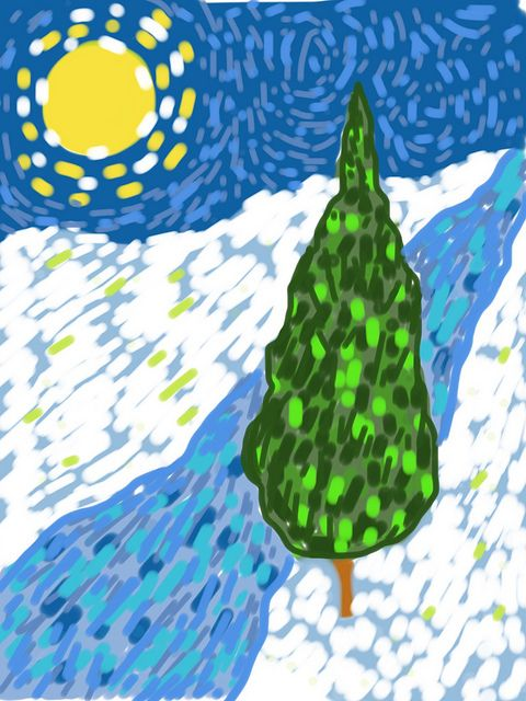 Elementary Art iPads Van Gogh Cypress created in app Brushes